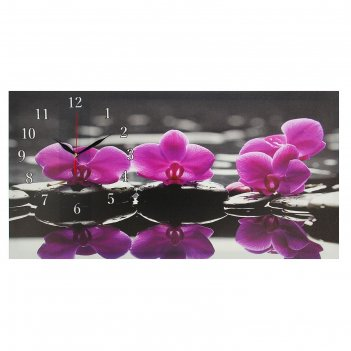 Часы настенные на холсте орхидеи на камнях, 40х76 см микс