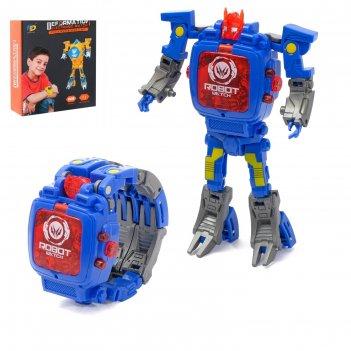 Робот-трансформер часы, трансформируется в часы, работает от батареек, цве
