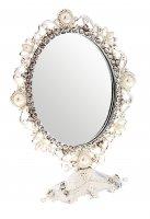 Зеркало интерьерное жемчужная россыпь, овальное, на ножке, цвет серебристы