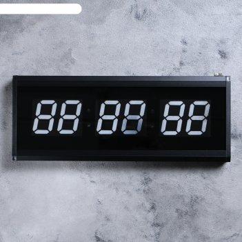 Часы настенные электронные, цифры синие 19х48 см
