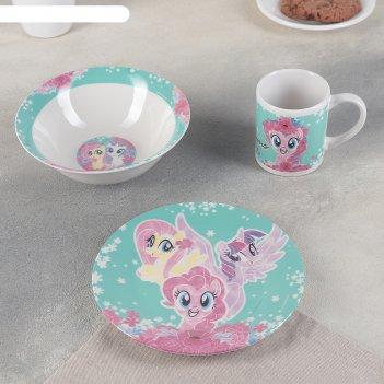 Набор 3 пр. my little pony: кружка 240 мл, миска 18 см, тарелка 19 см