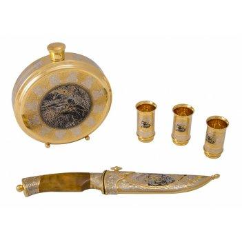 Набор охотничий сезон охоты (фляга большая, нож цм, 3 стопки)