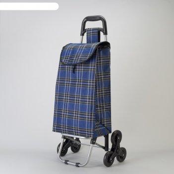 Сумка хозяйственная на колёсах «клетка», отдел на шнурке, наружный карман,