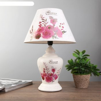 Лампа настольная цветочный букет 1xe14 40вт белый 24х24х39,5 см.