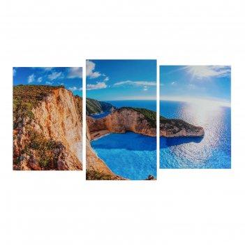 Модульная картина на подрамнике морской горизонт, 2 шт. — 30x44,5, 1 шт. —