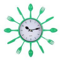 Часы настенные столовые приборы, вилки/ложки/ножи зеленые, белый циферблат