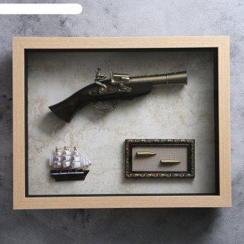 Сувенирное изделие в раме, структура дерево, корабль, пистолет, пули 39*49