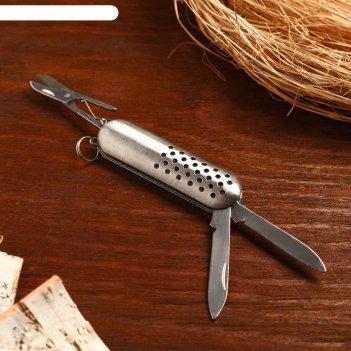 Нож складной сувенирный 4 в 1, рукоять металлик