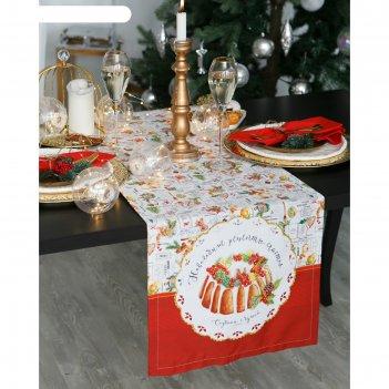 Дорожка на стол этель новогодние рецепты 40х147 см, 100% хл, саржа 190 гр/