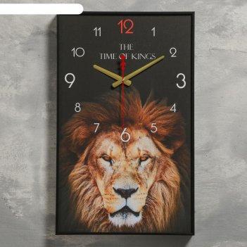 Часы настенные, серия: животные, лев, 1 аа, плавный ход, 37х60 см