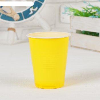 Стаканы пластиковые 300 мл, набор 6 шт, цвет жёлтый