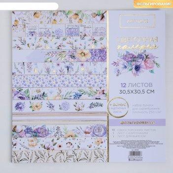 Набор бумаги для скрапбукинга с фольгированием «цветочная галерея», 12 лис