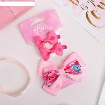 Зажим для волос совушки (набор 3 шт) розовый