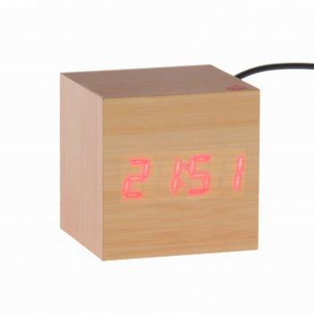 Часы-будильник деревянный кубик с термометром, 4*ааа или usb ( в комплекте