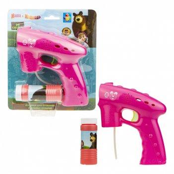 1toy маша и медведь, мыл. пистолет, световые эффекты , бут. 60 мл, блистер