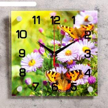Часы настенные квадратные бабочки на цветках, 25х25 см