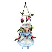 Кукла коллекционная стелла в голубом платье на качели 38 см