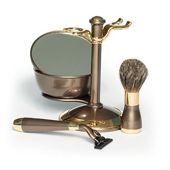 Набор для бритья бронза и золото совместим с gillette mach-3, нат. ворс