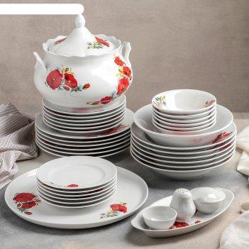 Сервиз столовый 37 предметов, 4 вида тарелок, идиллия. маки красные