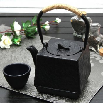 Чайник с ситом 700 мл бокей. этно с эмалированным покрытием, цвет черный