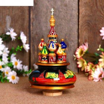 Сувенир-шкатулка музыкальная храм. кремль, 19х15,5 см, чёрная