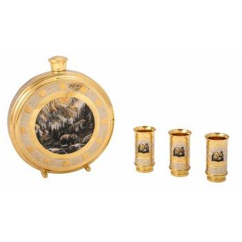 Набор охотничий барин (фляга большая, 3 стопки) златоуст