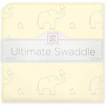 Фланелевая пеленка для новорожденного swaddledesigns слоники с птичками же