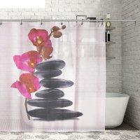Штора для ванной 180х180 см камни и орхидея, полиэстер