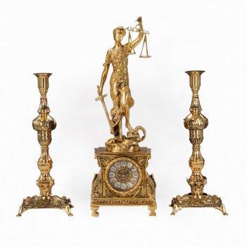 Часы каминные правосудие с канделябрами на 1 свечу, набор из 3 предм.