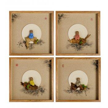 Art-404 панно модульное из четырёх картин дзен медитация