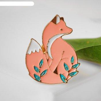 Значок лисичка с ветками, цветной