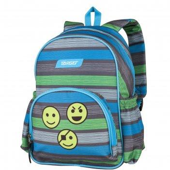 Рюкзак школьный target 35*28*12 смайлики, сер/зел/син