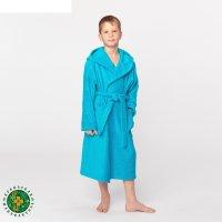 Халат махровый детский, размер 36, цвет морской, 340 г/м2 хл.100% с airo