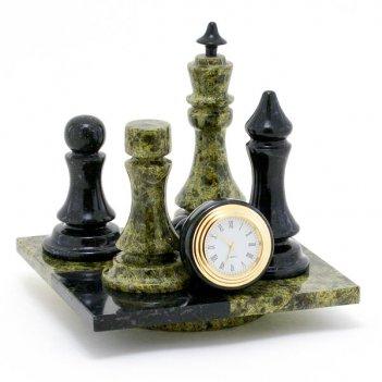 Часы шах и мат камень змеевик