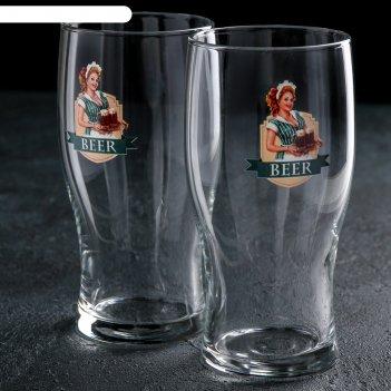 Набор бокалов для пива 500 мл пейте пиво, 2 шт