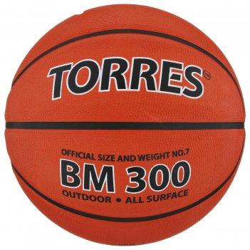 Мяч баскетбольный torres bm300, р.7, темно-оранжево-черный