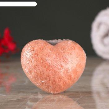 Шипучая бомбочка сердце с ароматом клубники, красная