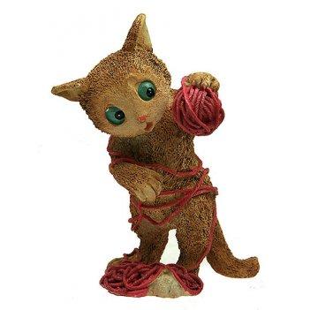 Фигурка декоративная котенок с клубком 7*6*11см (уп.1/48шт.)