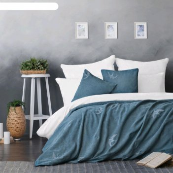 Комплект «либерти»: покрывало 160x220 см, наволочки 40x40 см-2 шт, голубой