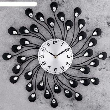 Часы настенные, серия: ажур, лепестки с кристалами d=40 см