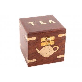 Шкатулка под чай 2шт/упак. (красный палисандр, латунь)