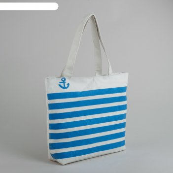 Сумка пляжная якорь, 1 отдел, подклад, на молнии, цвет бело-синий