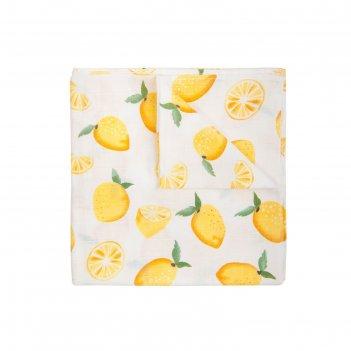 Пелёнка, размер 120 x 120 см, муслин, принт лимон