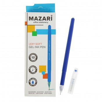 Ручка гелевая lexy soft, узел 0.5мм, синяя, игольчатый пишущий узел в форм