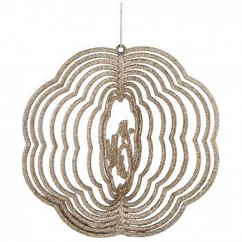 Декоративное изделие:цветок 3-d цвет: шампань с глиттером диаметр=16 см бе