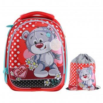 Рюкзак каркасный luris джерри 3 37x28x19 см + мешок для обуви, для девочки