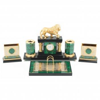 Настольный набор лев малахит позолота