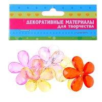 Пуговицы декоративные прозрачный цветок микс набор 6 шт
