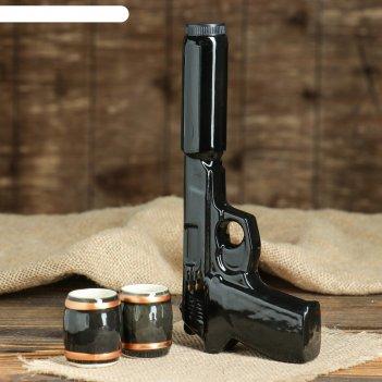 Штоф с рюмками пистолет с глушителем набор 3 предмета 0,3 л