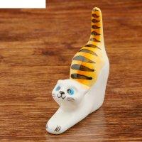 Статуэтка фарфоровая кошка рыжая, подставка для колец, 8 см